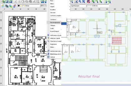 WiseImage FM - Conversion d'un plan scanné en objets murs, cloisons et locaux